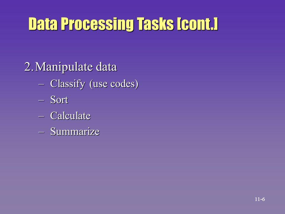 Data Processing Tasks [cont.]